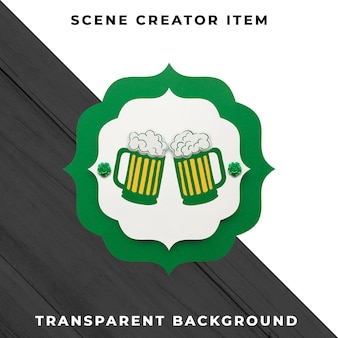 Décoration de bière en papier isolée avec un tracé de détourage.