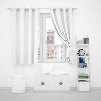 Décoration intérieure, fenêtre et mobilier blanc avec jouets pour enfants