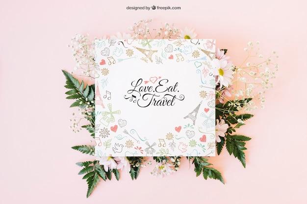 Décoration de mariage avec carte carrée