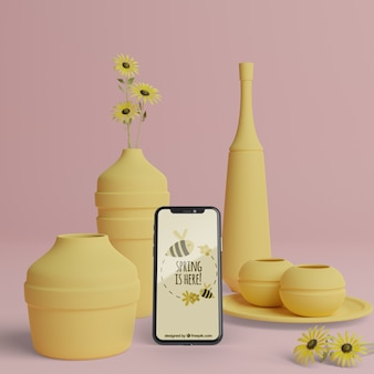 Décorations 3d de printemps avec maquette d'appareil mobile