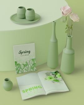 Décorations de printemps 3d maquette sur table