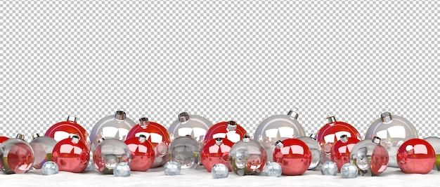 Découpe de boules de noël alignées sur la neige