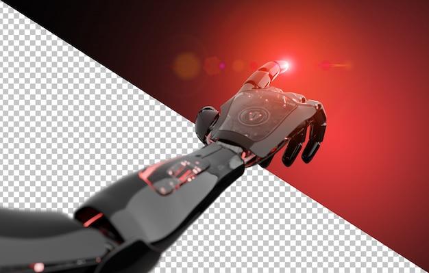 Découpe le doigt pointé du robot noir et rouge