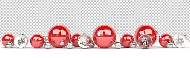 Découpez des boules de noël rouges et en verre isolées alignées