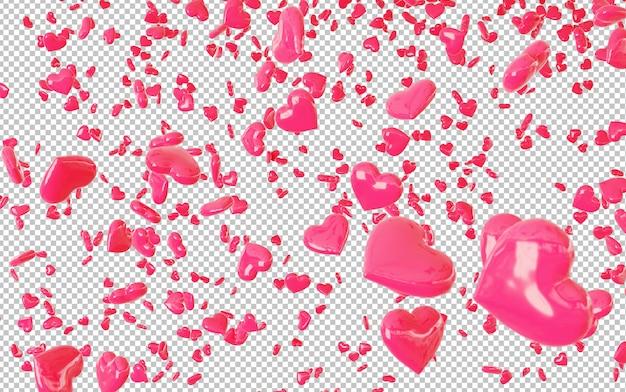 Découpez les confettis coeurs rouges qui tombent