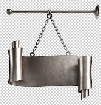 Défilement en métal médiéval avec des chaînes de rendu 3d isolé