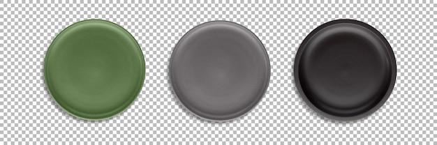 Définir des assiettes arrondies colorées isolées avec transparence