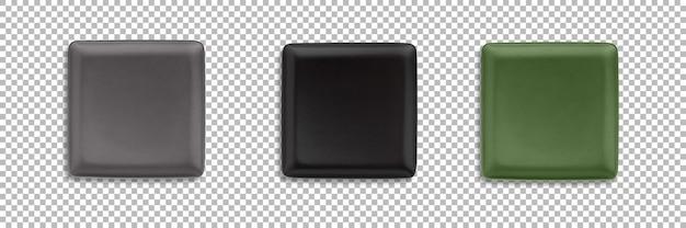 Définir des assiettes carrées colorées isolées avec transparence
