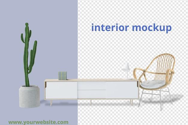 Définir la décoration intérieure dans une maquette de rendu 3d