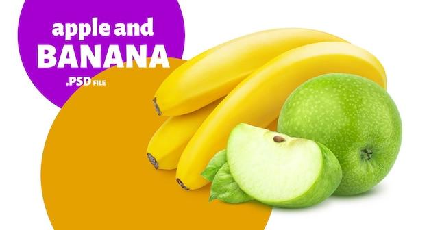 Délicieuse banane et pomme isolée