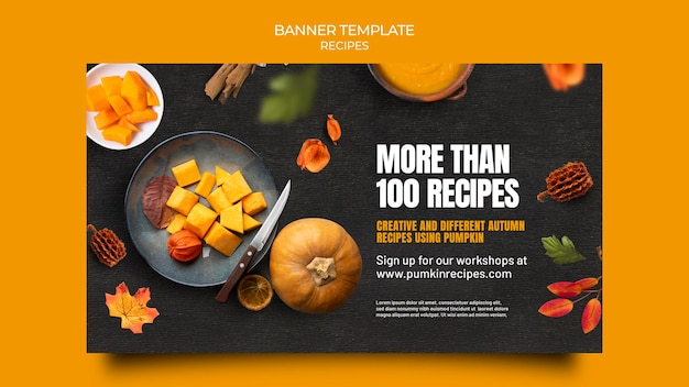 Délicieuse bannière de nourriture d'automne