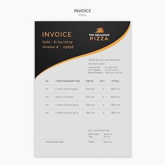 La délicieuse facture de pizza