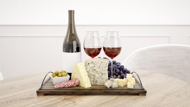 Délicieux Assortiment De Fromages Avec Maquette De Vin Rouge Psd gratuit