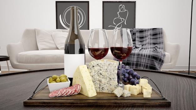 Délicieux assortiment de fromages avec maquette de vin rouge