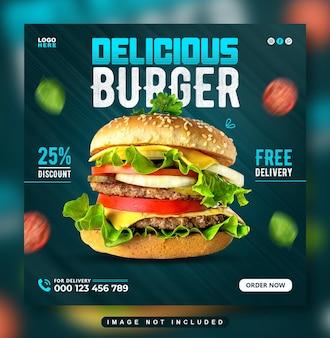 Délicieux burger menu alimentaire publication sur les médias sociaux ou modèle de conception de bannière