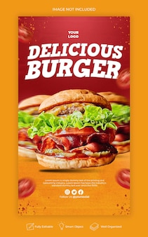 Délicieux burger menu instagram et modèle d'histoire de médias sociaux