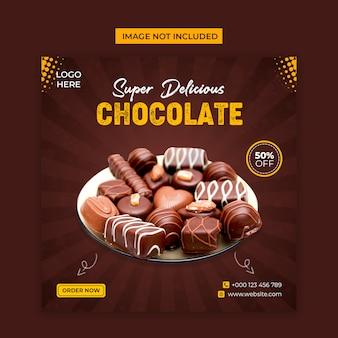 Délicieux médias sociaux au chocolat et modèle de publication instagram