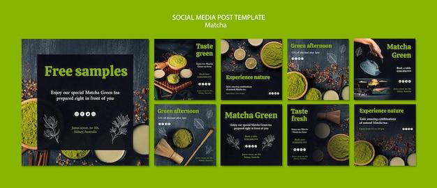 Délicieux modèle de publication sur les médias sociaux de thé matcha
