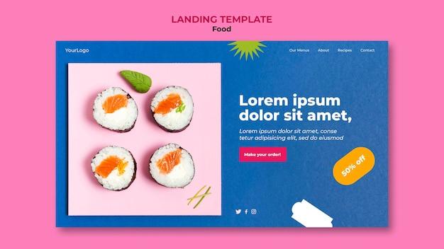 Délicieux page de destination de sushi