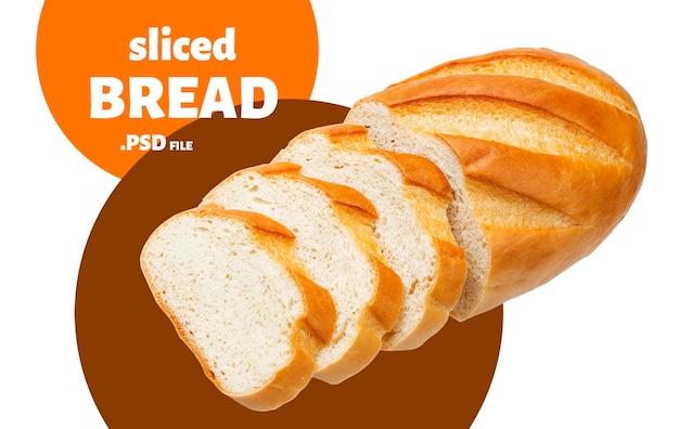 Délicieux pain blanc en tranches isolé