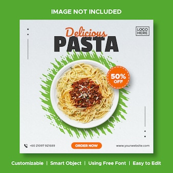 Delicious pasta food discount menu promotion social media instagram post banner template