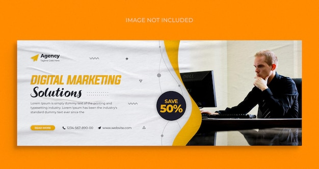 Dépliant de bannière web de médias sociaux d'agence de marketing numérique et modèle de conception de photo de couverture facebook
