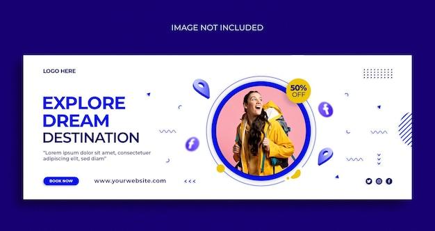 Dépliant de bannière web de médias sociaux de voyage et modèle de conception de couverture facebook