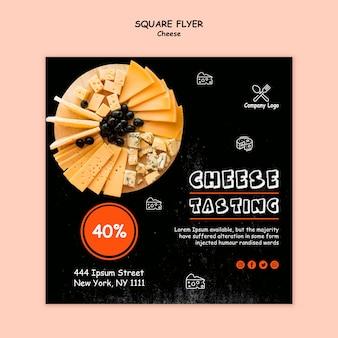 Dépliant carré de dégustation de fromage