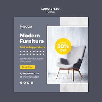 Dépliant carré de mobilier moderne