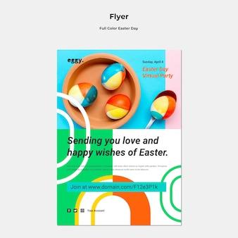 Dépliant du jour de pâques avec des détails colorés
