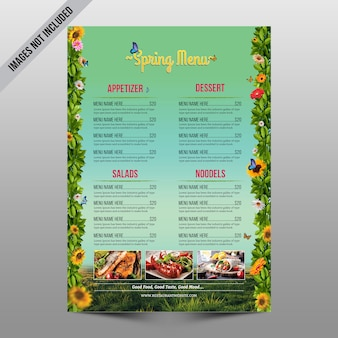 Dépliant du menu du printemps