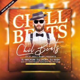 Dépliant de fête du club chill beats
