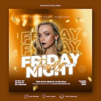 Dépliant de la fête du vendredi soir, bannière web de publication sur les médias sociaux