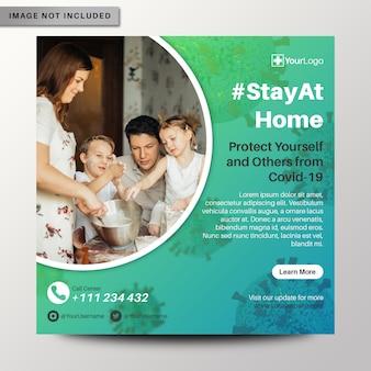 Dépliant à la maison sur le coronavirus, bannière de publication sur les médias sociaux instagram
