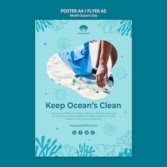 Dépliant de modèle de la journée mondiale de l'océan