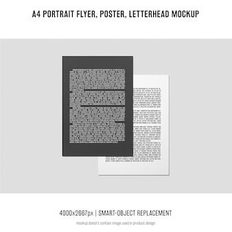 Dépliant de portrait, affiche, maquette papier à en-tête