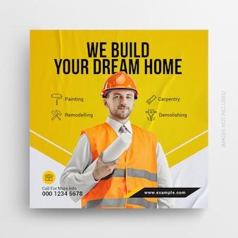 Dépliant de réparation à domicile pour bricoleur de construction bannière web post amp sur les médias sociaux