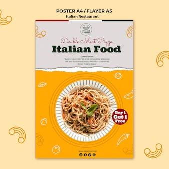 Dépliant de restaurant italien avec offre