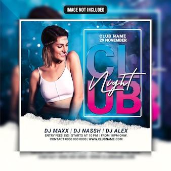 Dépliant de soirée dj club night