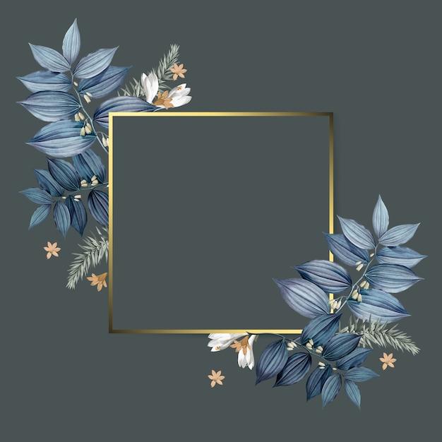 Design de cadre doré floral vide