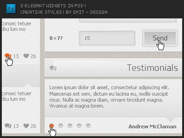 Design créatif des widgets psd