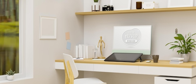 Design d'intérieur de salle de bureau à domicile avec des décorations de tablettes de dessin par ordinateur et rendu 3d de meubles en bois