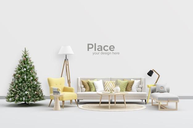 Design d'intérieur de salon avec arbre de noël