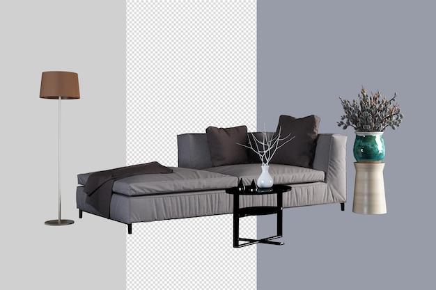 Design d'intérieur de salon en rendu 3d