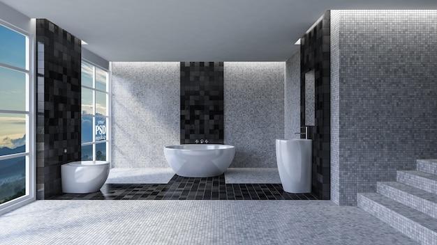 Design d'intérieur de toilette 3d
