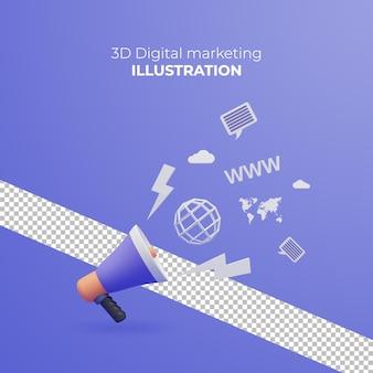 Design plat créatif de marketing numérique 3d pour le matériel de marketing de bannière web