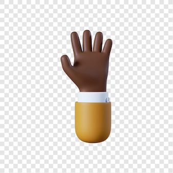 Dessin animé homme d'affaires afro-américain geste de la main ouverte