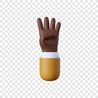 Dessin animé homme d'affaires afro-américain main quatre geste