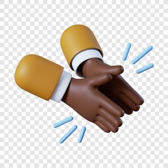 Dessin animé, homme affaires afro-américain, mains, applaudissements