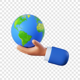 Dessin animé, homme affaires, main, tenue, globe